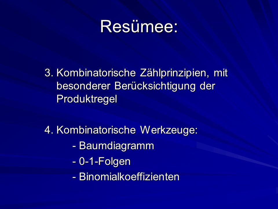 Resümee: 3. Kombinatorische Zählprinzipien, mit besonderer Berücksichtigung der Produktregel.