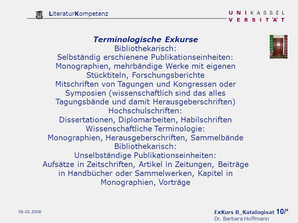 Terminologische Exkurse