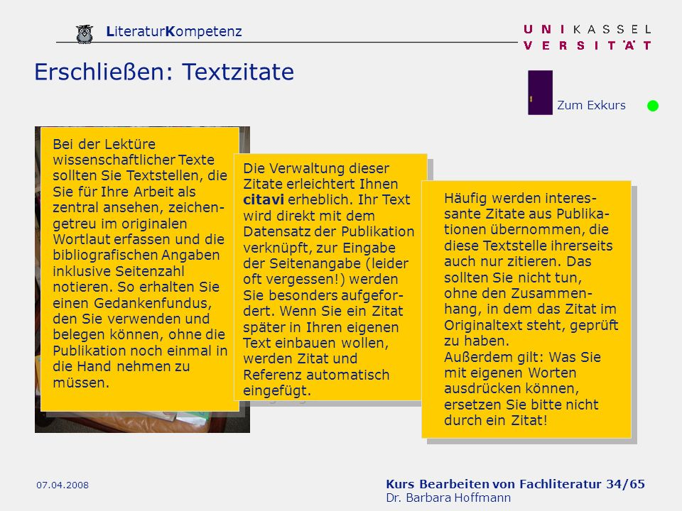 Erschließen: Textzitate