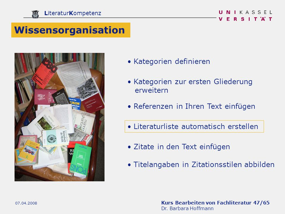 Wissensorganisation Kategorien definieren