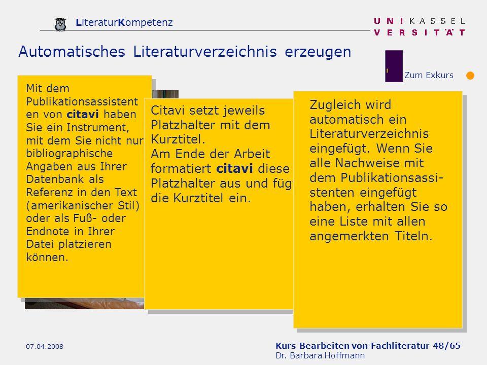 Automatisches Literaturverzeichnis erzeugen