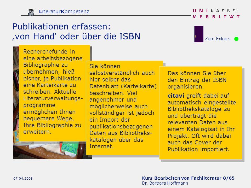 Publikationen erfassen: 'von Hand' oder über die ISBN
