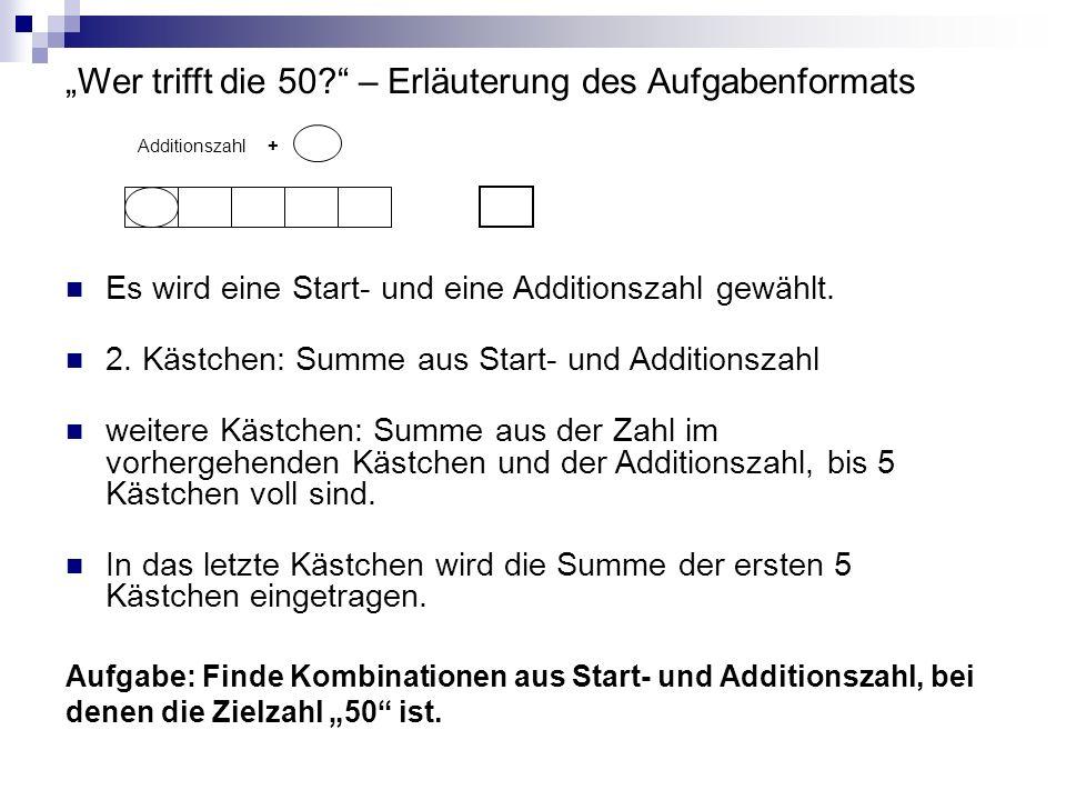 """""""Wer trifft die 50 – Erläuterung des Aufgabenformats"""