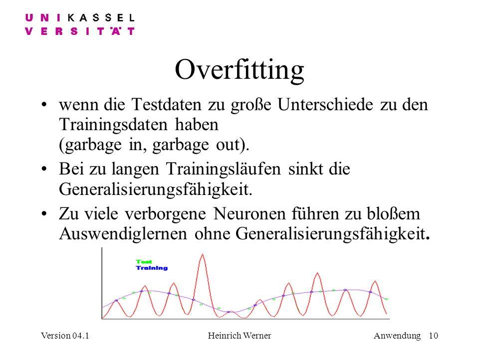Overfitting wenn die Testdaten zu große Unterschiede zu den Trainingsdaten haben (garbage in, garbage out).