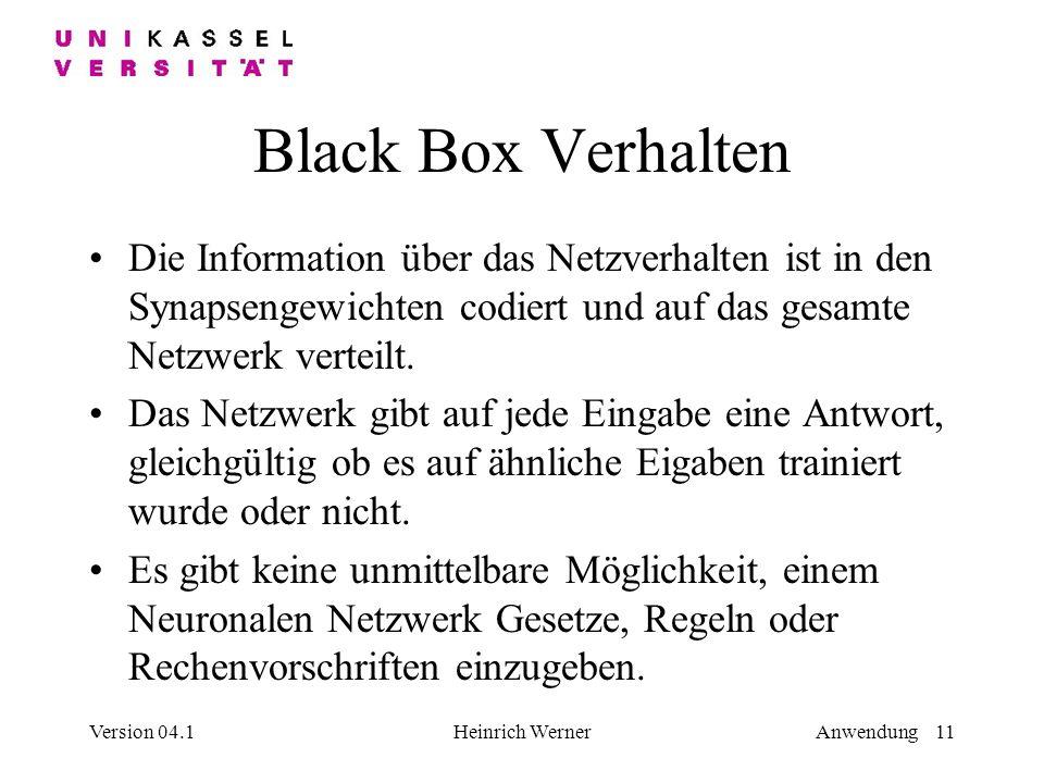 Black Box Verhalten Die Information über das Netzverhalten ist in den Synapsengewichten codiert und auf das gesamte Netzwerk verteilt.