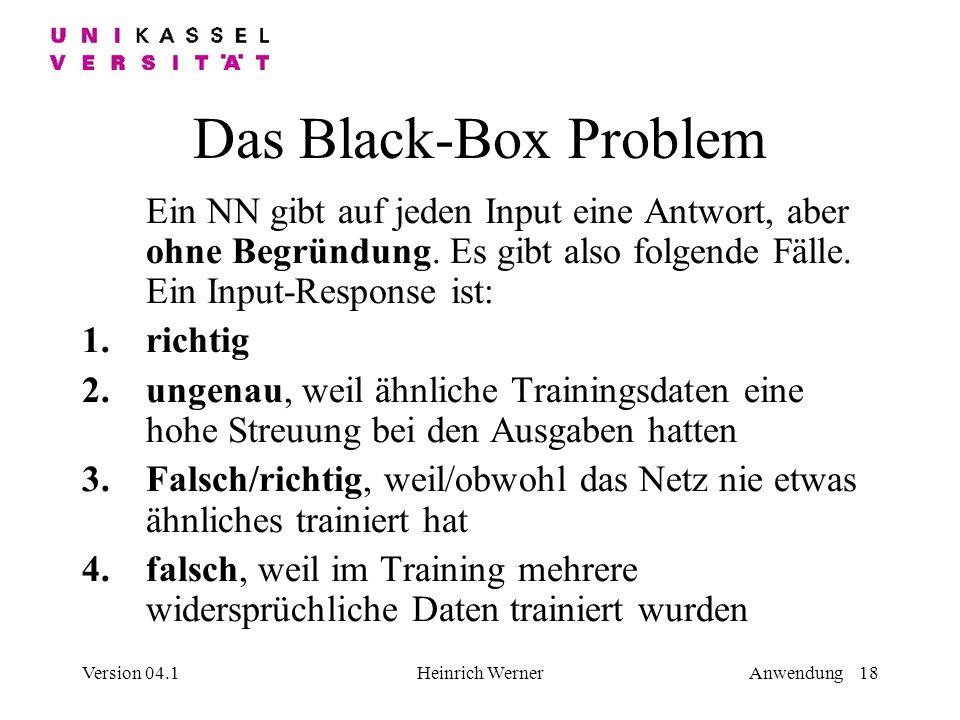 Das Black-Box Problem Ein NN gibt auf jeden Input eine Antwort, aber ohne Begründung. Es gibt also folgende Fälle. Ein Input-Response ist: