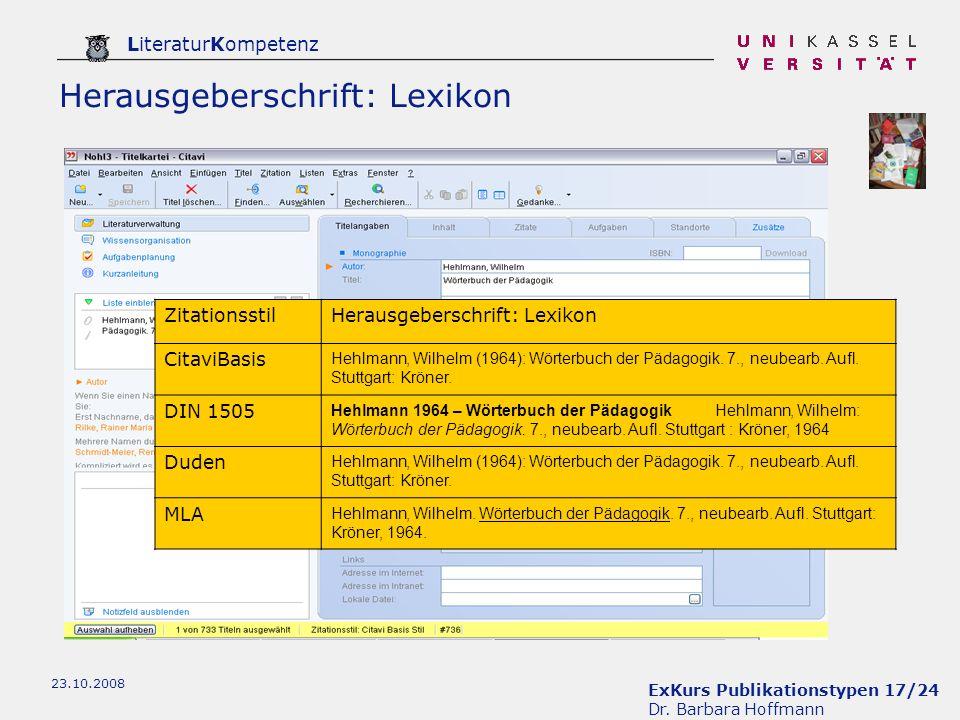 Herausgeberschrift: Lexikon
