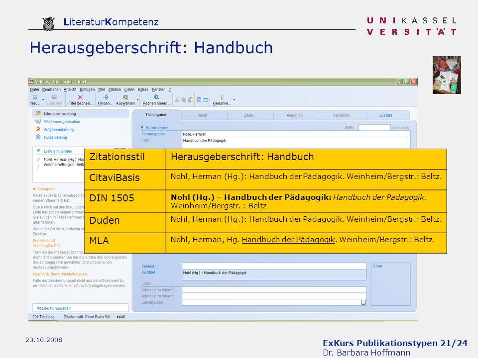 Herausgeberschrift: Handbuch