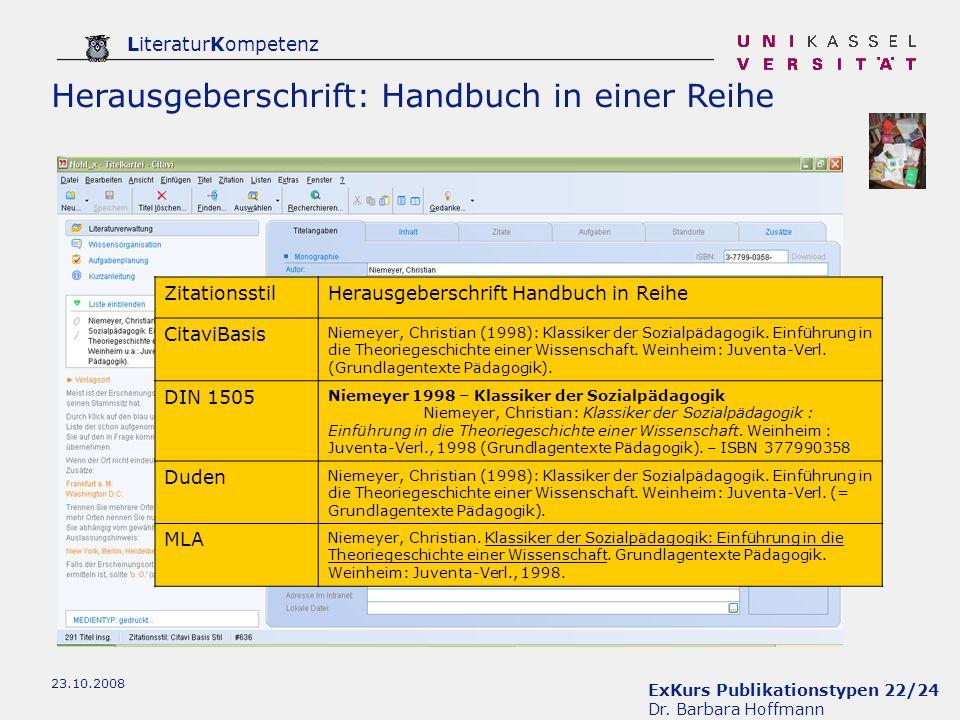 Herausgeberschrift: Handbuch in einer Reihe