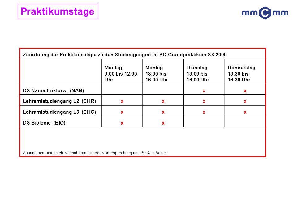 Praktikumstage Zuordnung der Praktikumstage zu den Studiengängen im PC-Grundpraktikum SS 2009. Montag 9:00 bis 12:00 Uhr.