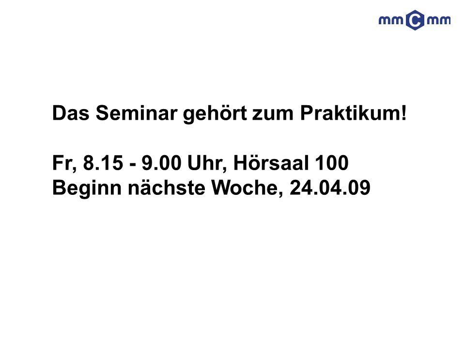 Das Seminar gehört zum Praktikum!