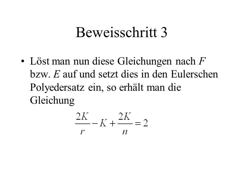 Beweisschritt 3 Löst man nun diese Gleichungen nach F bzw.