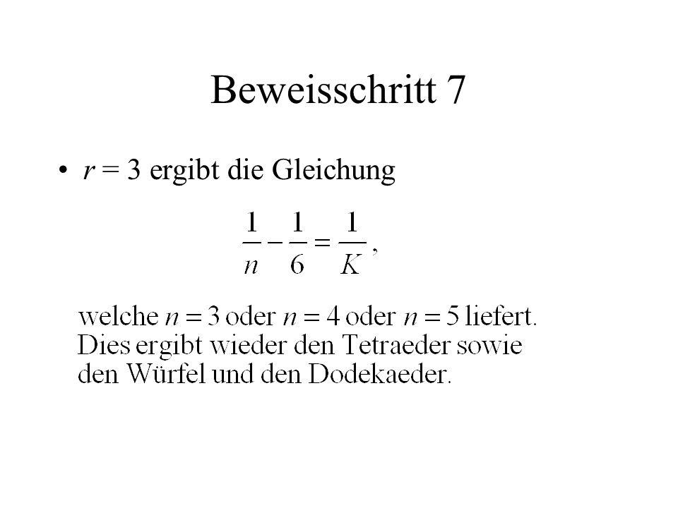Beweisschritt 7 r = 3 ergibt die Gleichung