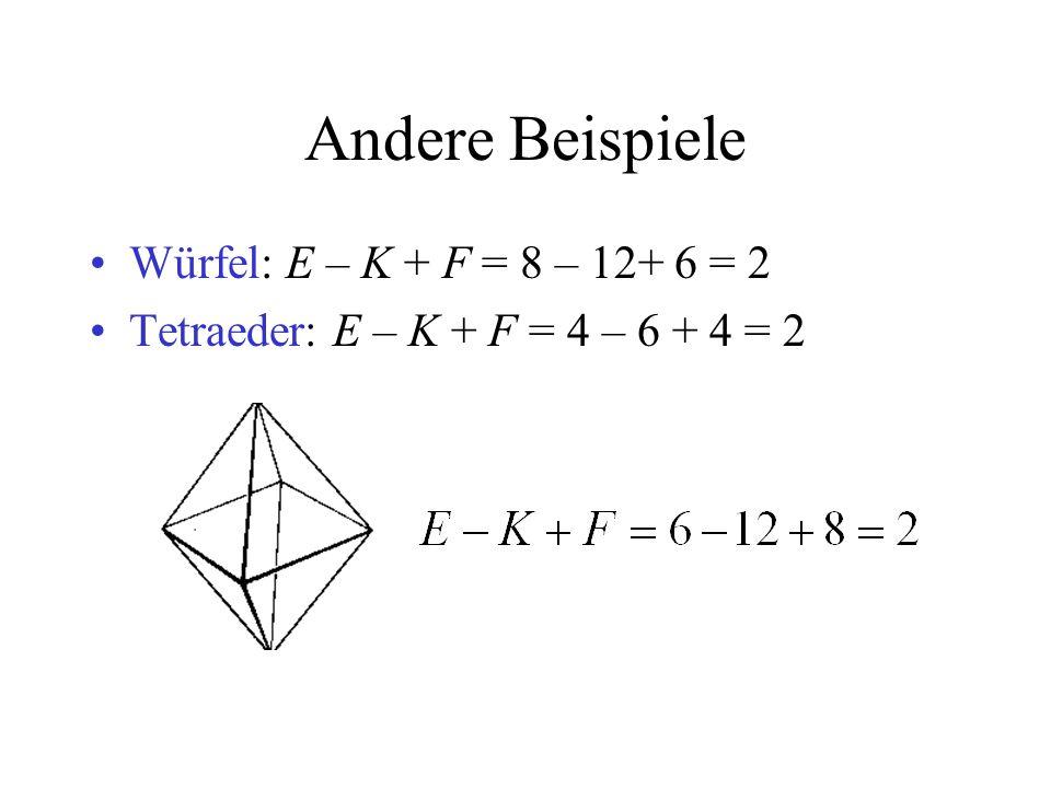 Andere Beispiele Würfel: E – K + F = 8 – 12+ 6 = 2