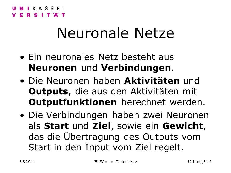 Neuronale Netze Ein neuronales Netz besteht aus Neuronen und Verbindungen.