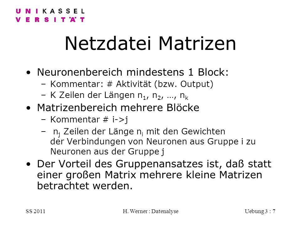 Netzdatei Matrizen Neuronenbereich mindestens 1 Block: