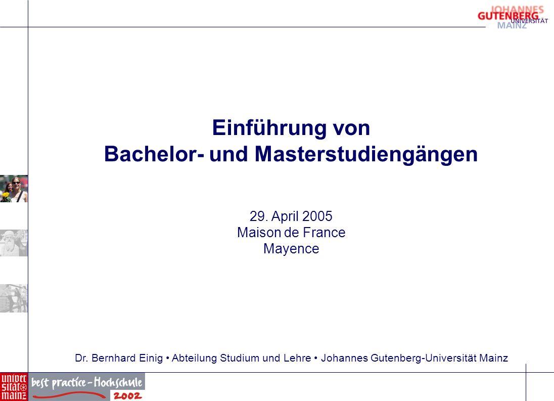 Einführung von Bachelor- und Masterstudiengängen