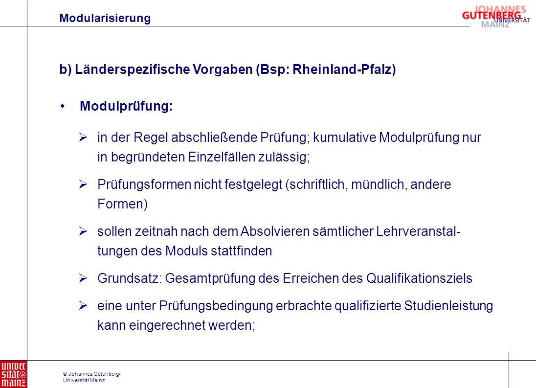 b) Länderspezifische Vorgaben (Bsp: Rheinland-Pfalz)