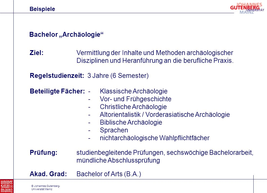 "Bachelor ""Archäologie"