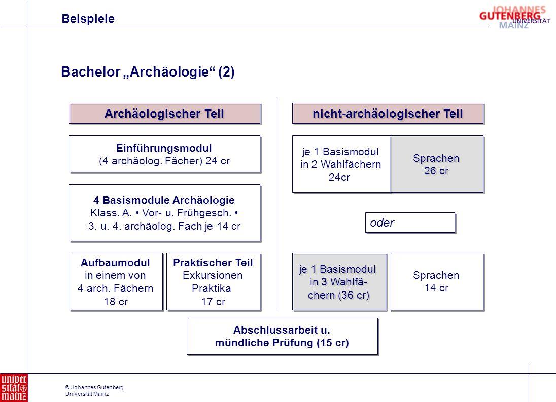 nicht-archäologischer Teil mündliche Prüfung (15 cr)