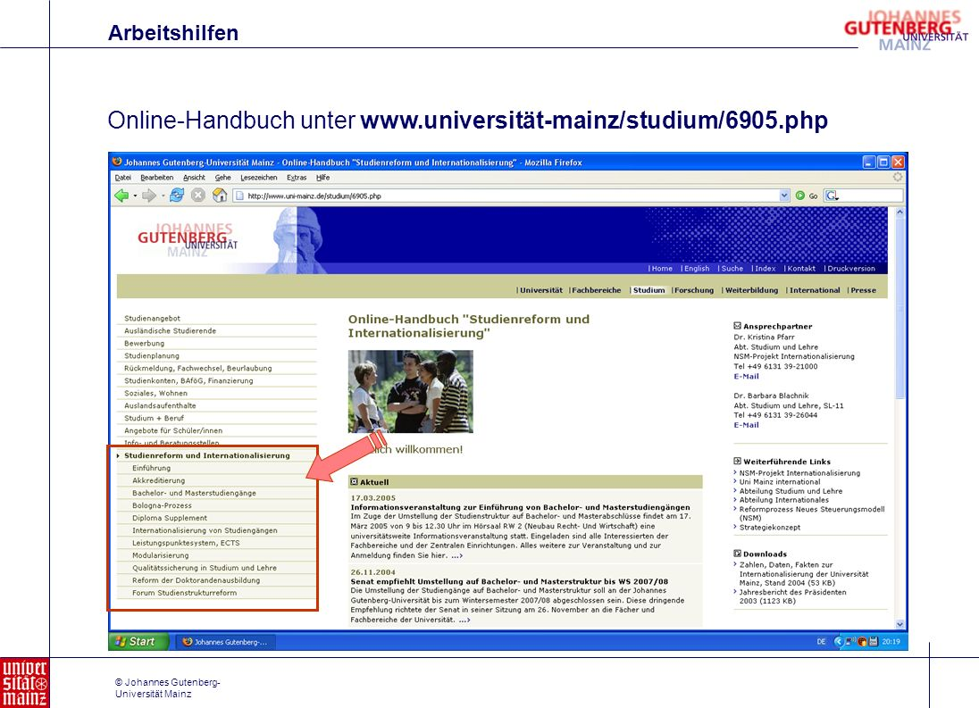 Online-Handbuch unter www.universität-mainz/studium/6905.php