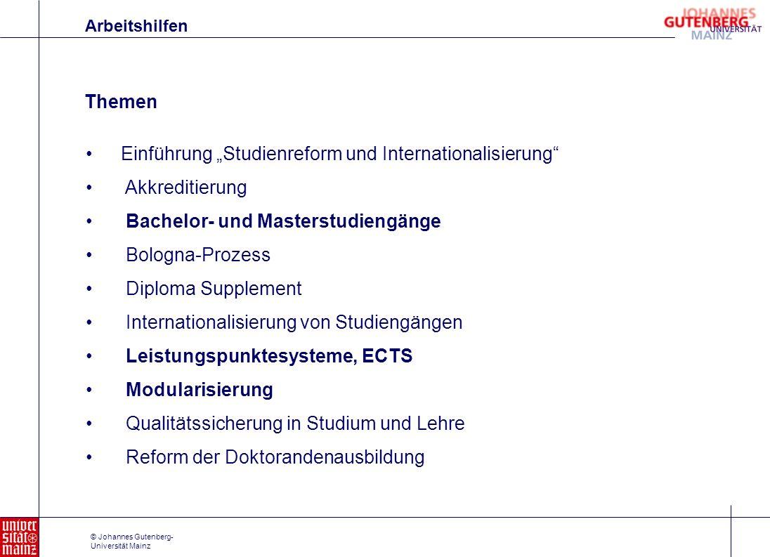 """Einführung """"Studienreform und Internationalisierung Akkreditierung"""