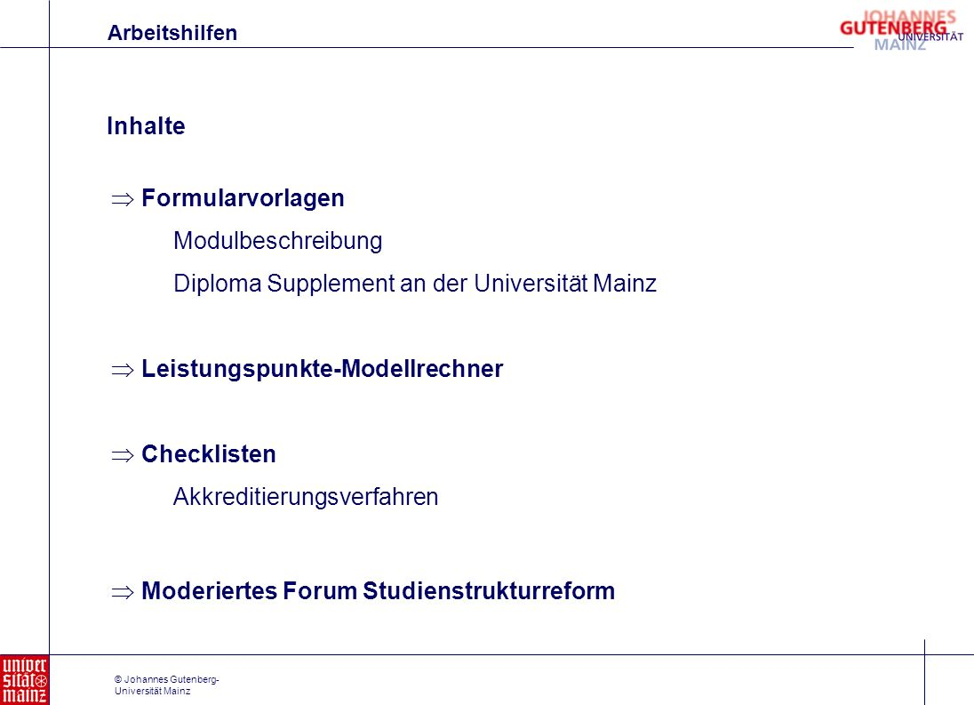 Diploma Supplement an der Universität Mainz
