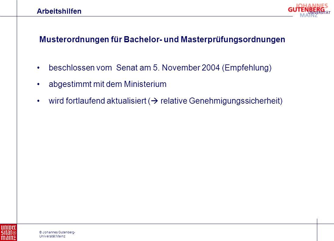 Musterordnungen für Bachelor- und Masterprüfungsordnungen