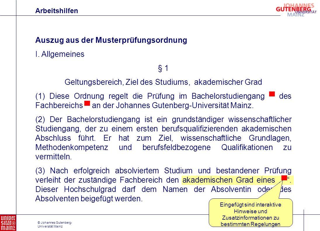 Geltungsbereich, Ziel des Studiums, akademischer Grad