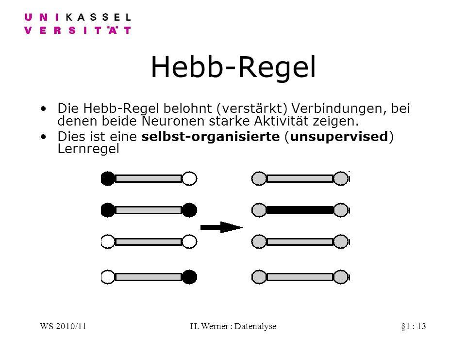 Hebb-Regel Die Hebb-Regel belohnt (verstärkt) Verbindungen, bei denen beide Neuronen starke Aktivität zeigen.