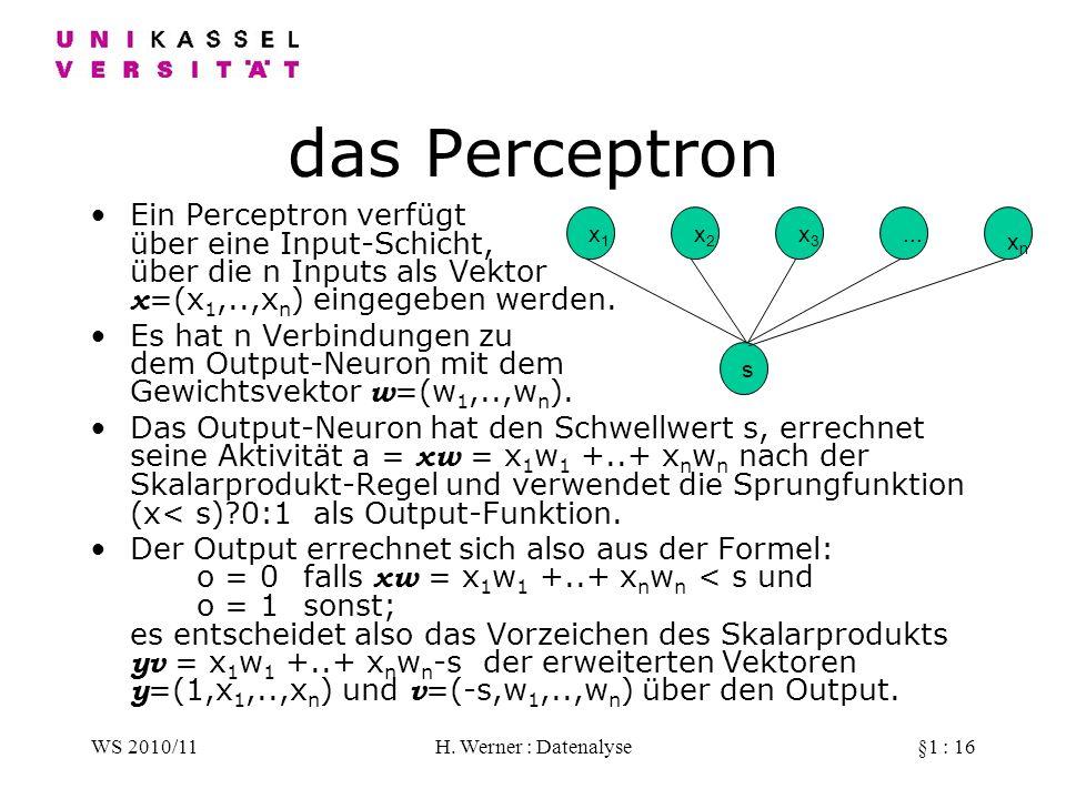 das Perceptron Ein Perceptron verfügt über eine Input-Schicht, über die n Inputs als Vektor x=(x1,..,xn) eingegeben werden.