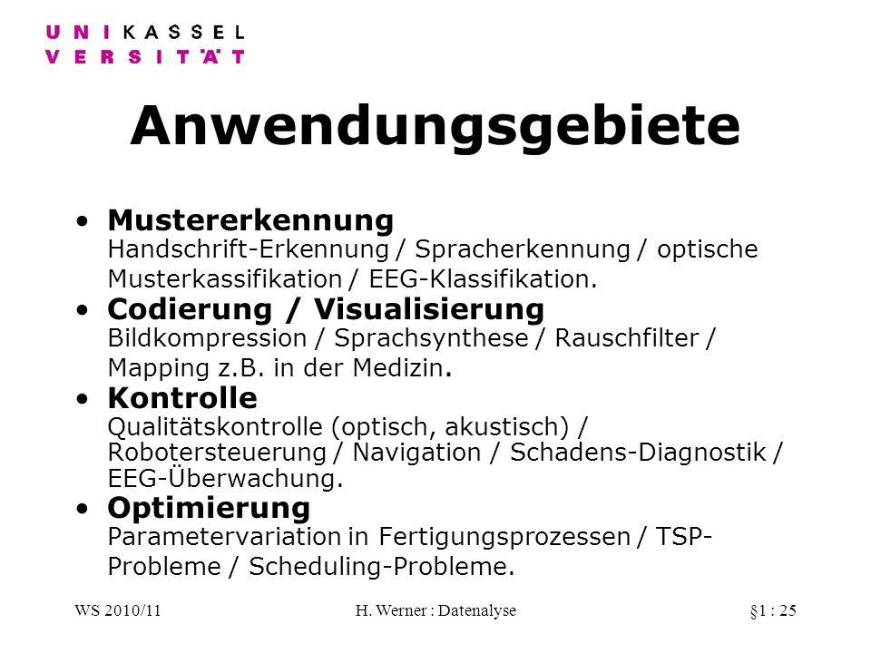 Anwendungsgebiete Mustererkennung Handschrift-Erkennung / Spracherkennung / optische Musterkassifikation / EEG-Klassifikation.