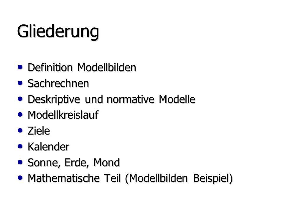 Gliederung Definition Modellbilden Sachrechnen