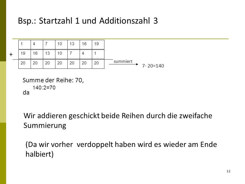 Bsp.: Startzahl 1 und Additionszahl 3