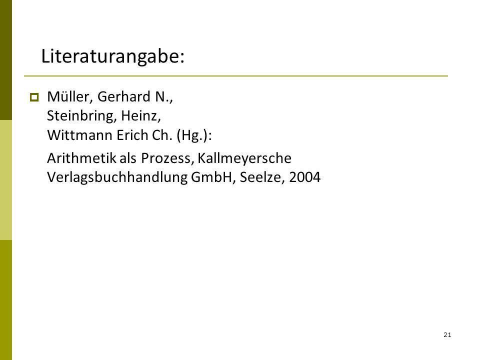 Literaturangabe: Müller, Gerhard N., Steinbring, Heinz, Wittmann Erich Ch. (Hg.):