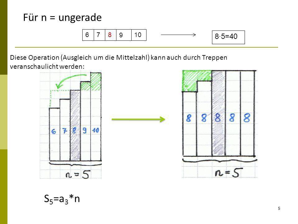 Für n = ungerade S5=a3*n 8∙5=40