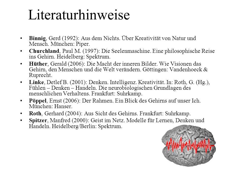 Literaturhinweise Binnig, Gerd (1992): Aus dem Nichts. Über Kreativität von Natur und Mensch. München: Piper.