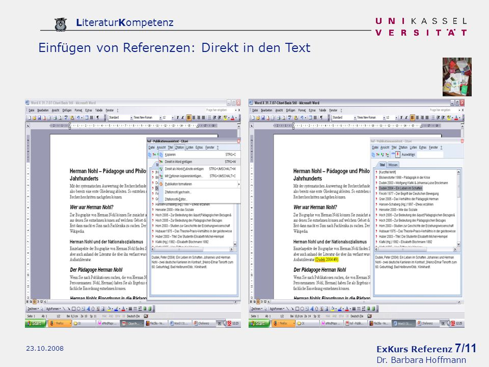 Einfügen von Referenzen: Direkt in den Text