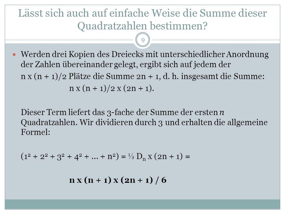 Lässt sich auch auf einfache Weise die Summe dieser Quadratzahlen bestimmen