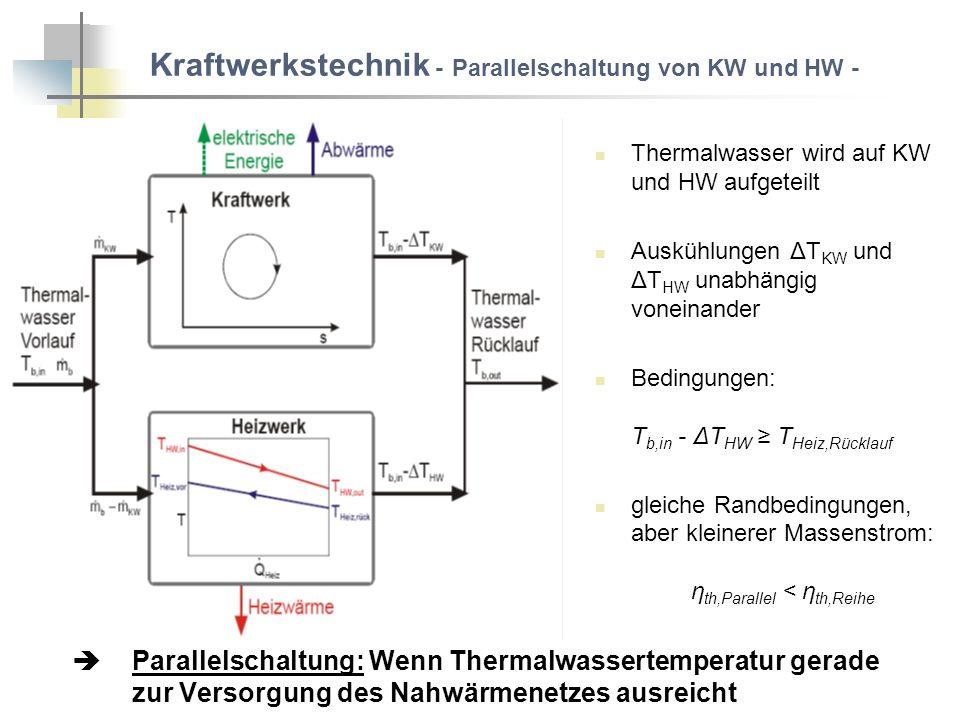 Kraftwerkstechnik - Parallelschaltung von KW und HW -