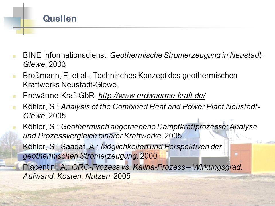 Quellen BINE Informationsdienst: Geothermische Stromerzeugung in Neustadt-Glewe. 2003.