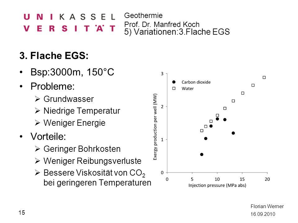 3. Flache EGS: Bsp:3000m, 150°C Probleme: Vorteile: Grundwasser