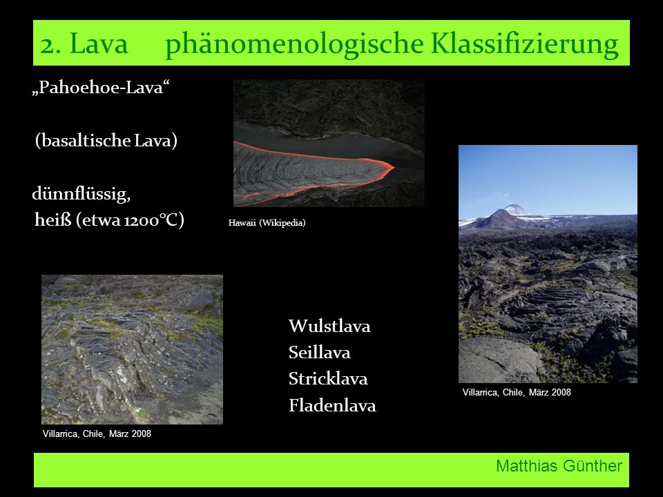 2. Lava phänomenologische Klassifizierung