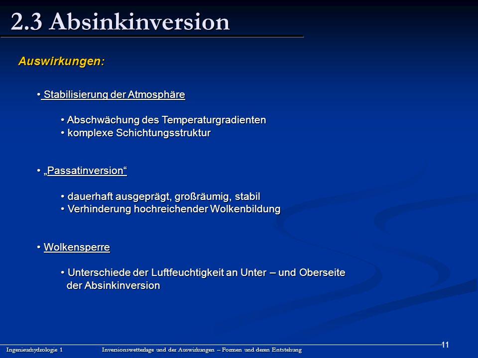 2.3 Absinkinversion Auswirkungen: Stabilisierung der Atmosphäre