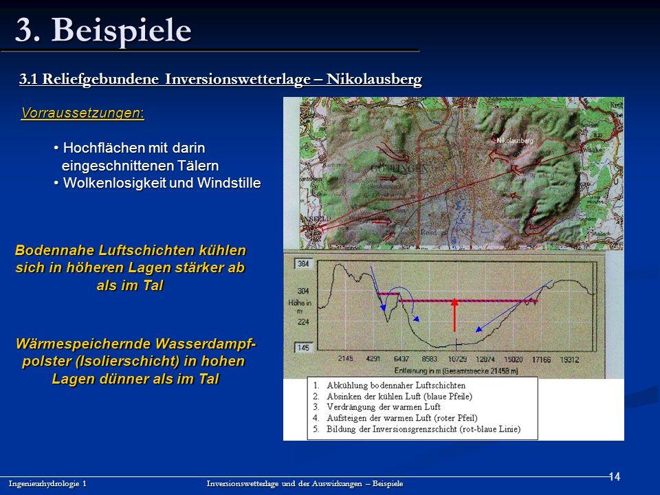 3. Beispiele 3.1 Reliefgebundene Inversionswetterlage – Nikolausberg