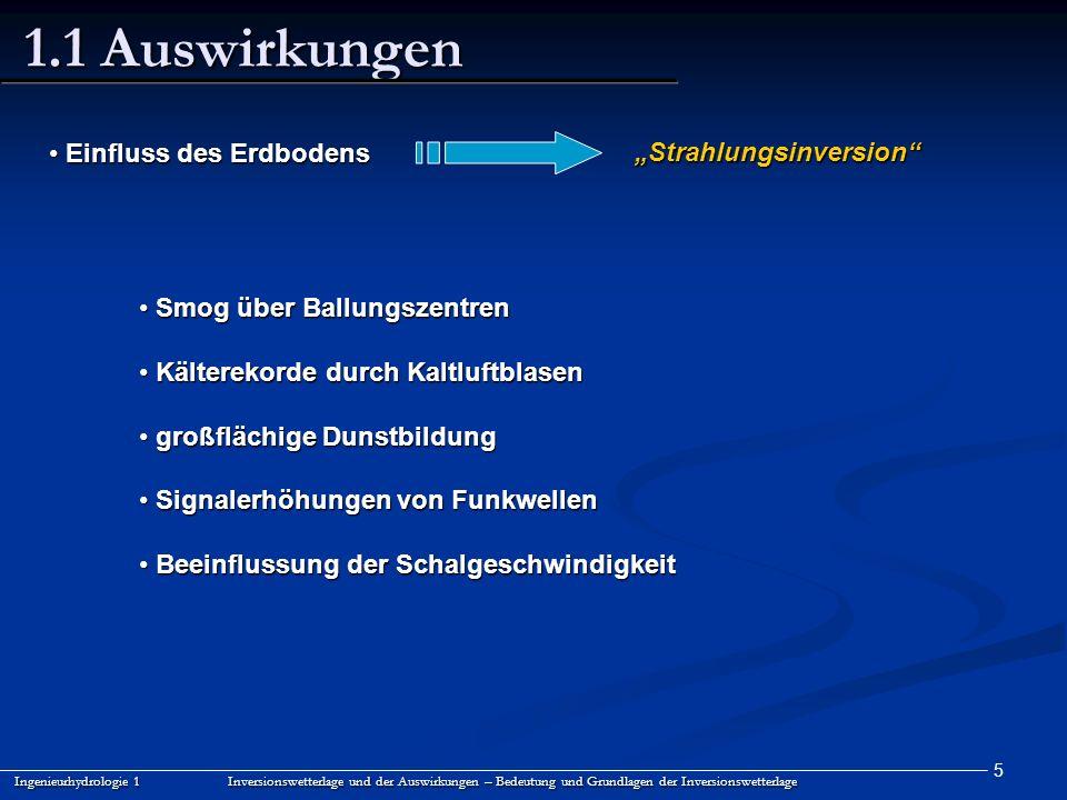"""1.1 Auswirkungen Einfluss des Erdbodens """"Strahlungsinversion"""