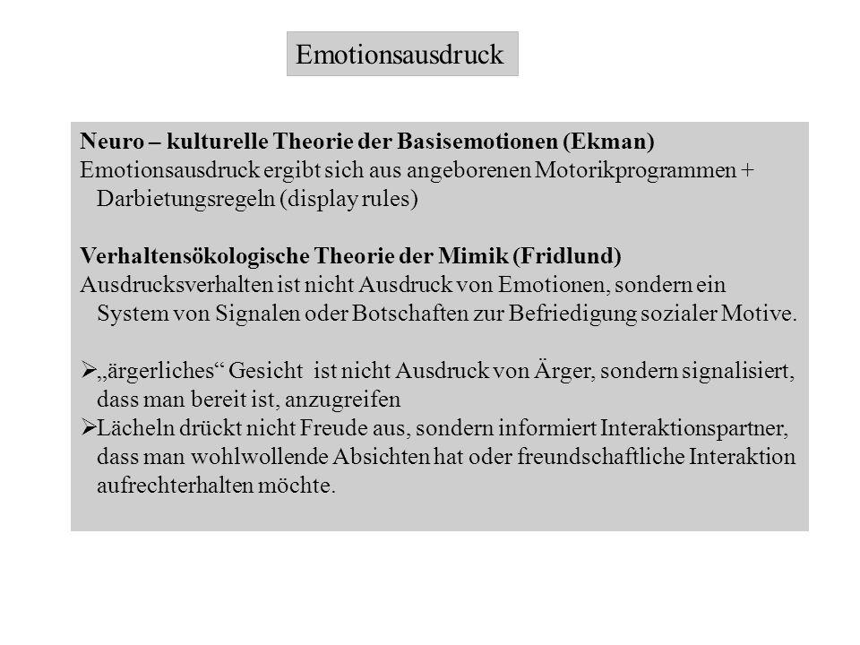 Emotionsausdruck Neuro – kulturelle Theorie der Basisemotionen (Ekman)
