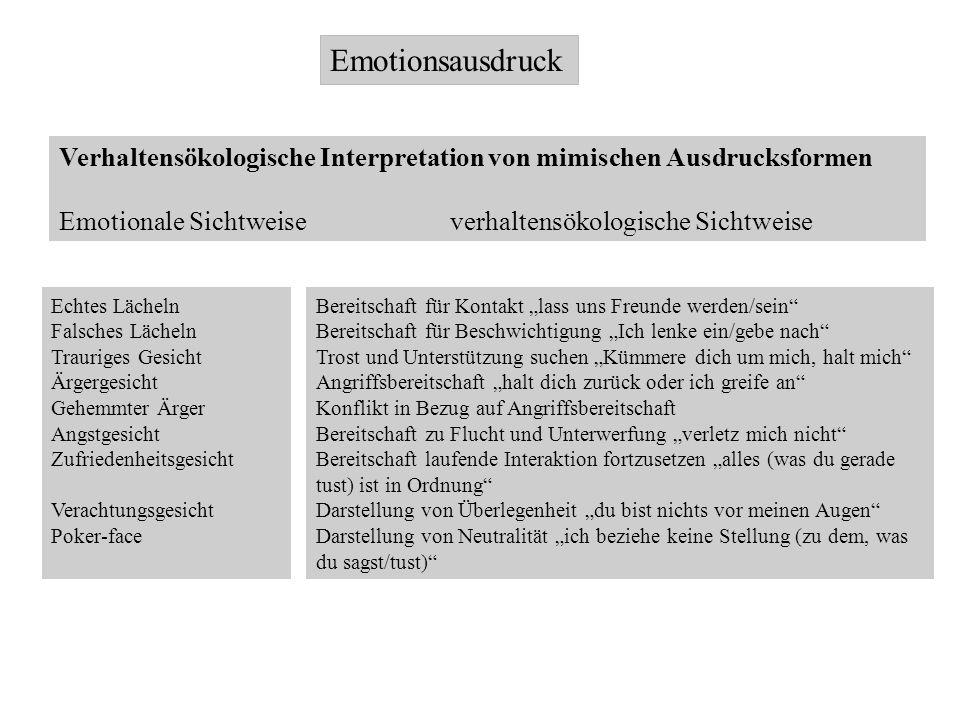 Emotionsausdruck Verhaltensökologische Interpretation von mimischen Ausdrucksformen.