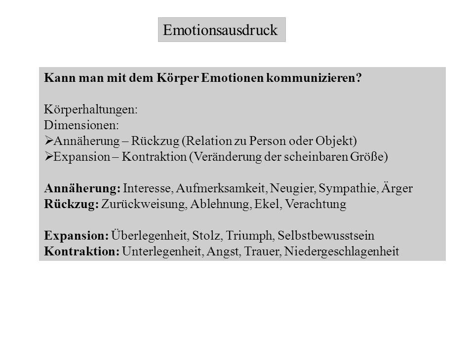 Emotionsausdruck Kann man mit dem Körper Emotionen kommunizieren