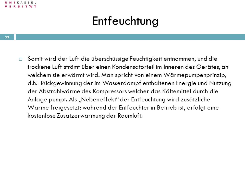 Entfeuchtung